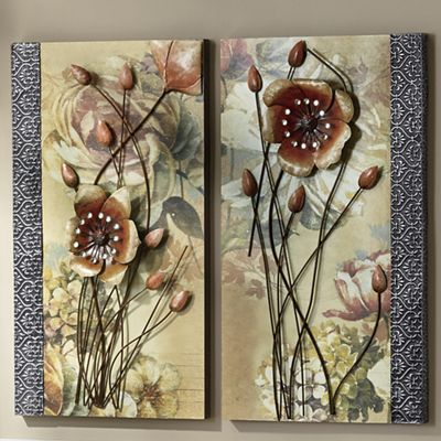 Set of Two 3-D Flower Prints