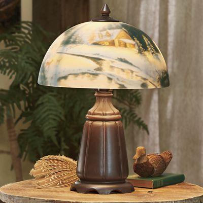 Hand-Painted Winter Scene Lamp