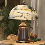 hand painted winter scene lamp