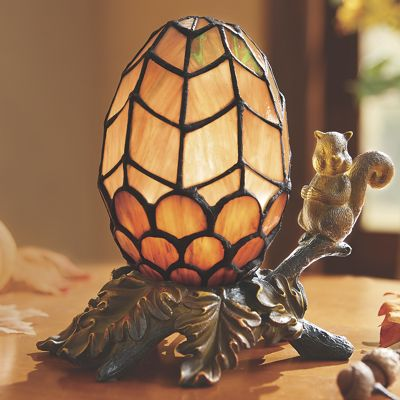 Stained Glass Squirrel Lamp