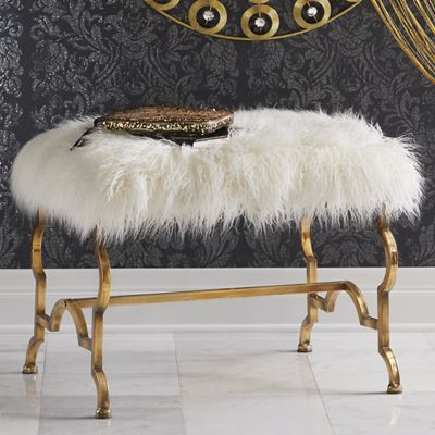 Square Fur Stool with Gold Metal Frame