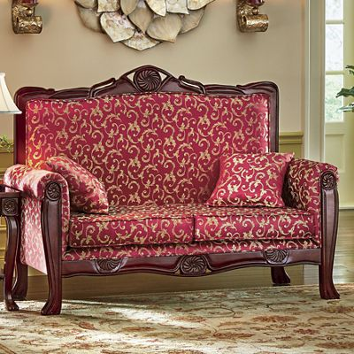 Regal Romantic Hand-Carved Loveseat