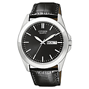 men s silvertone quartz watch with black dial and leather band by citizen