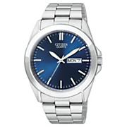 men s silvertone quartz watch with dark blue dial by citizen