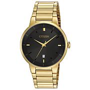 men s goldtone quartz watch with black dial by citizen
