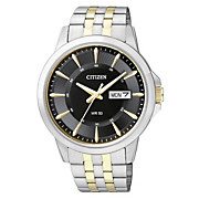 mens two tone quartz watch with black dial by citizen