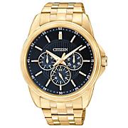 men s goldtone quartz watch with blue dial by citizen