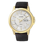 mens goldtone quartz watch with leather bracelet by citizen