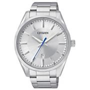 men s silvertone quartz watch with silver dial by citizen
