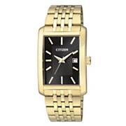 men s goldtone quartz watch with black dial by citizen 4