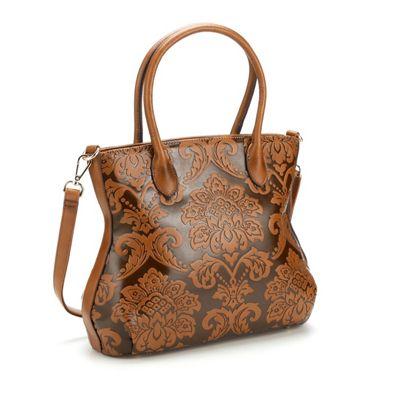 Floral Embossed Tonal Pattern Bag