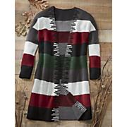 long striped knit sweater