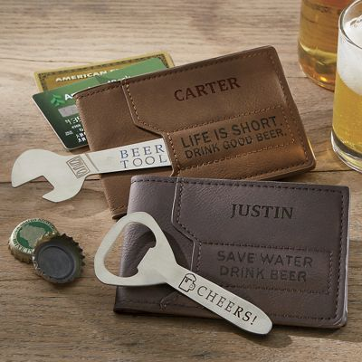 Personalized Men's Wallet with Stainless Steel Bottle Opener