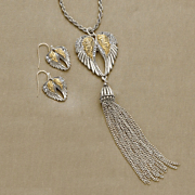 crystal wings two tone necklace and earring set