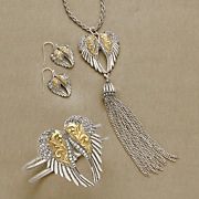 crystal wings two tone jewelry