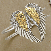 crystal wings two tone bangle