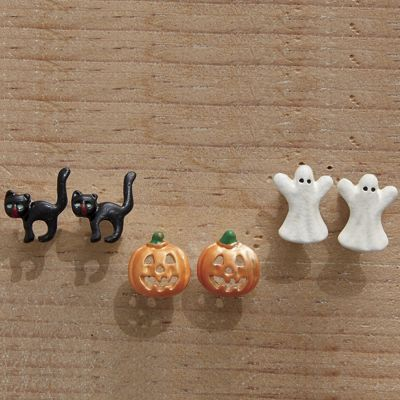 3-Pair Halloween Post Earring Set