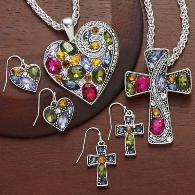 Multicolored Rhinestone Necklace/Earring Set