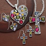 multicolored rhinestone necklace earring set