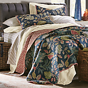 autumn leaves navy oversized quilt and sham