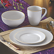 16 pc  pique gold dinnerware set