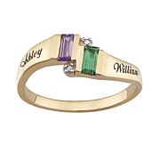 name emerald cut birthstone ring with diamond accents