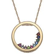 family birthstone circle slider necklace