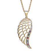 family birthstone diamond angel wing necklace