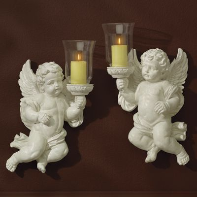 Set of 2 Cherub Sconces