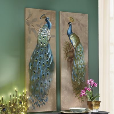 Set of 2 Peacock Canvas Art