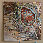 embellished peacock feather canvas
