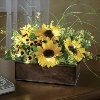 Lighted Floral in Metal Tin