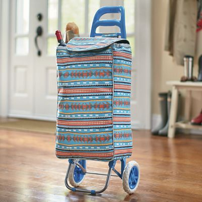 Heavy-Duty Shopping Bag On Wheels
