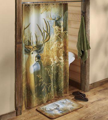 """Deer Shower Curtain and Bath Mat - 20"""" X 30"""""""