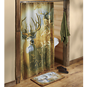 deer shower curtain and bath mat   20  x 30