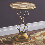 curved metal accent table