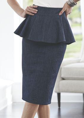 Peplum Denim Pencil Skirt