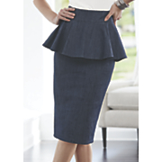 peplum denim pencil skirt