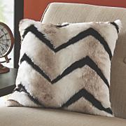 chevron faux fur decorative pillow
