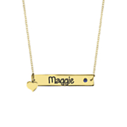 personalized birthstone name bar neclace with heart