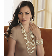 faux pearl multi chain necklace