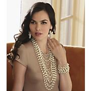faux pearl multi chain jewelry