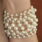faux pearl multi chain bracelet