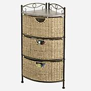 scrollwork corner basket storage