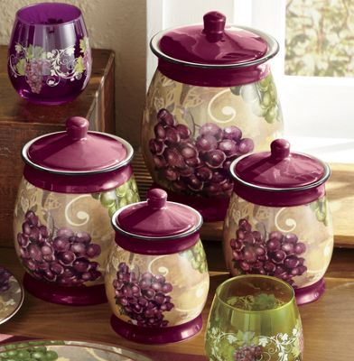4-Piece Grape Vineyard Canisters