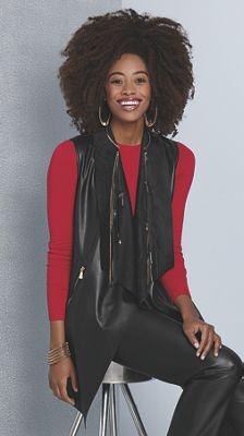 Misha Faux-Leather Sleeveless Jacket