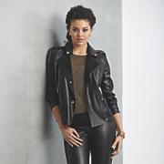 misha faux leather moto jacket