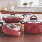 ribbed 5 pc  fry pan   casserole set by ginny s