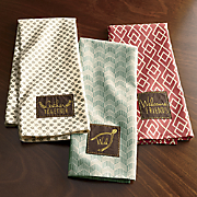 set of 3 gather together embellished dishtowels
