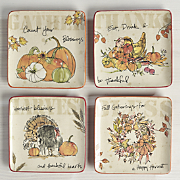 set of 4 give thanks plates